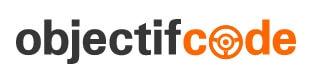 Objectif Code logo, black, orange, white